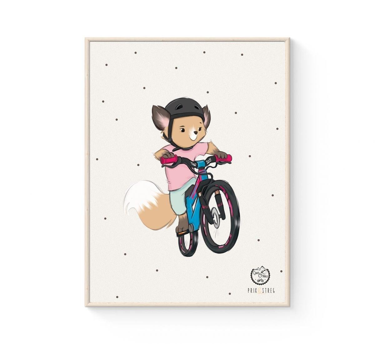 MTB Cykel Børneplakat - Ræv på sporet