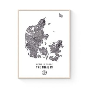 Mountainbike plakat Danmarkskort: Home is where there trail is
