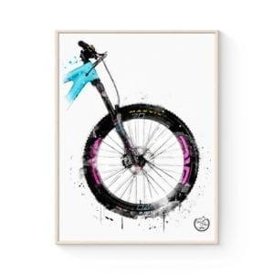 MTB plakat med fed vandfarve effekt - fra GOATS & TRAILS